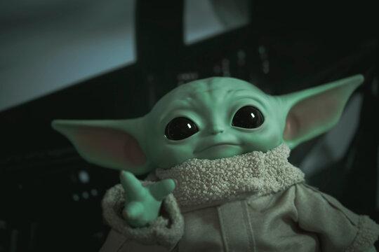 NEW YORK USA, DEC 28 2020: portrait of Jedi Grogu from Disney Plus series The Mandalorian (baby Yoda) - Mattel 11 inch plush toy