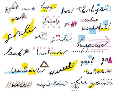 手書きのおしゃれなメッセージロゴ Set labels and bages for sellers including ''thank you'', ''for you'', ''happy'' and ''good'' labels. Vector illustration