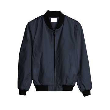 A Front View Bomber Jacket Mockup In Dark Sapphire Color, for creating a gorgeous and believable Hoodie template