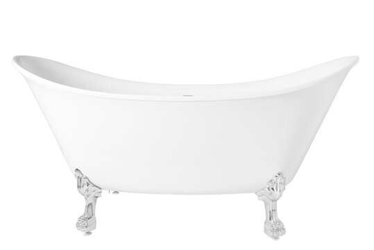 A modern white clawfoot bathtub isolated on a white background