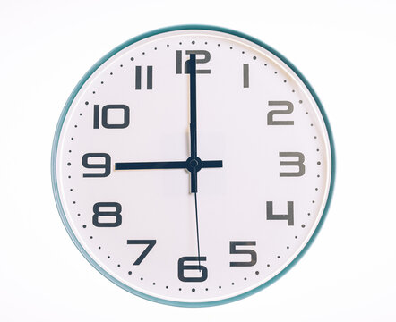 Modern Circula Round Shape Wall Clock on White Background Show time at 9:00