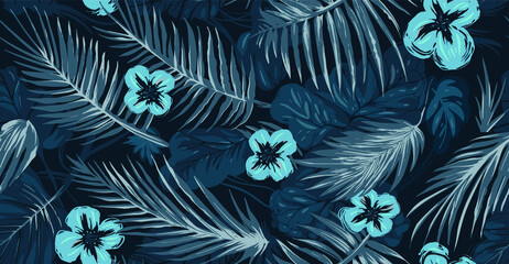tropical blue element flower and leaves Wall mural