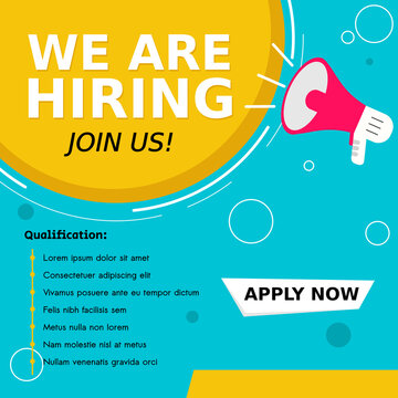Announcement job recruitment design for companies. Square social media post layout. We are hiring banner, poster, background template