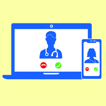 Telemedicine or telehealth virtual visit, video visit between doctor and patient on laptop computer and mobile phone device flat vector icon for healthcare apps and websites, editable eps 10 available