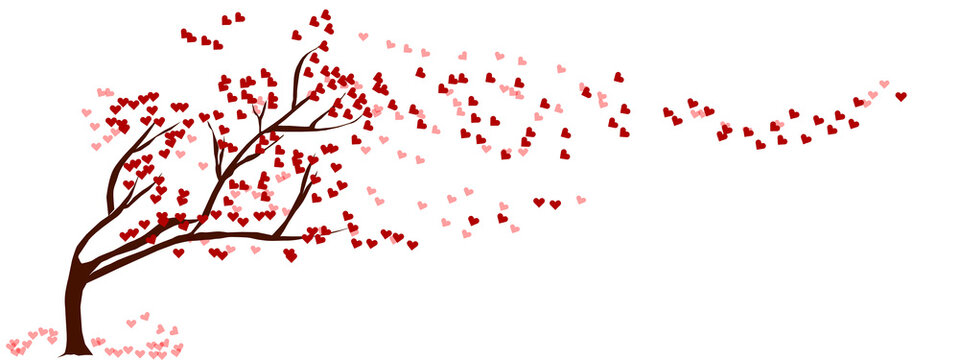 Flat Art Abstract Illustration on Isolated White Background. Red heart tree waver. Tree of love. Valentine's Day concept.