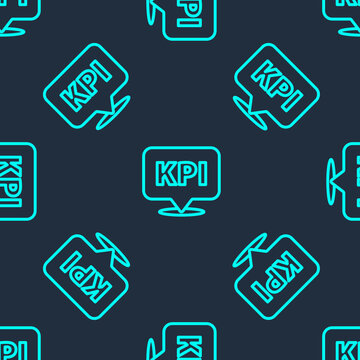 Green line KPI - Key performance indicator icon isolated seamless pattern on blue background. Vector.