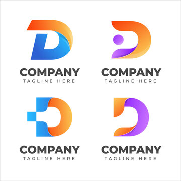 Set of letter d logo collection with colorful concept for company