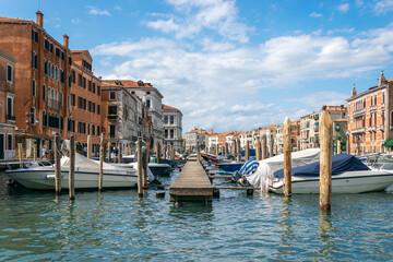 Italy, Venice. Grand canal for gondola in travel europe city. Old italian architecture with landmark bridge, romantic boat. Venezia.