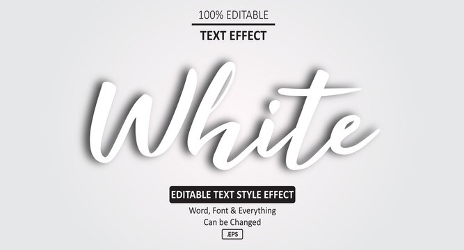 Smooth White Vector text effect, Editable Text Effect