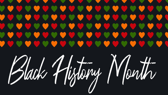 Vector banner Black History Month - annual celebration in USA, African American Emancipation. Script text - Black History Month. Pattern with hearts in African colors - red, green, yellow on black bac