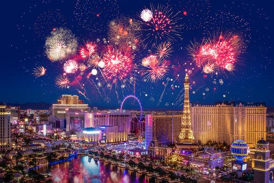 Las Vegas (Nevada, USA) with fireworks