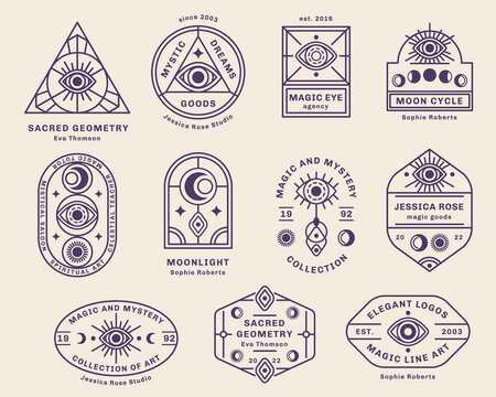 Eye, Sun and Moon abstract logo set, branding design template, trendy line art minimal style. Vector illustration. Geometric Alchemy Symbol, Occult and Mystic Sign, Sacred Geometry