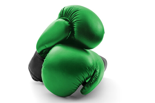 Competitive sports, fist protection and martial arts concept with photograph of two green boxing gloves with one glove on top of the other isolated on white background with clipping path cutout