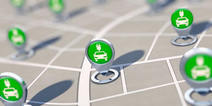 Ladesäulennetz für E-Mobilität