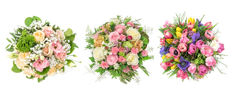 Spring bouquet Soft pastel roses tulips anemone eustoma flowers
