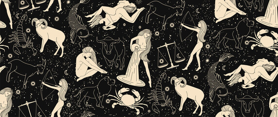 Seamless pattern - signs of the zodiac. Gold illustration of astrological signs on a dark background. Magical illustrations of women and animals in the blooming sky.
