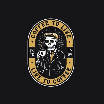 Retro coffee shop with skull logo