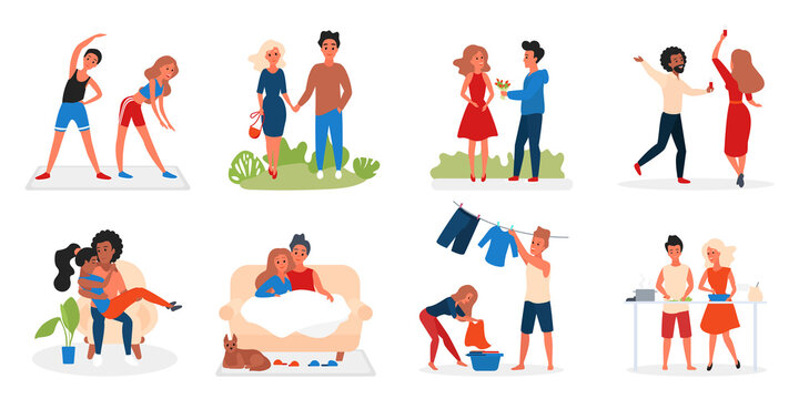 Couple people spend time together vector illustration. Cartoon man woman lover characters hugging walking dancing dating cooking food and doing sport exercise, love and relationships isolated on white