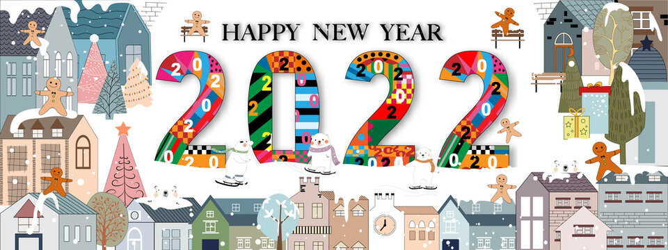 Happy New Year 2022 with winter landscape in village. Chritsmas eve on Winter wonderland in the town with happy polar bear play ice skating and ginger bread man celebrating in the park,Vector Christma