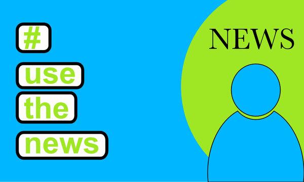 Hashtag und use the News und blaue Personenfigur im grünen Kreis neben blauem Hintergrund