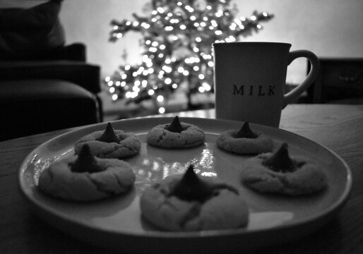 Cookies and milk left out for Santa on Christmas Eve