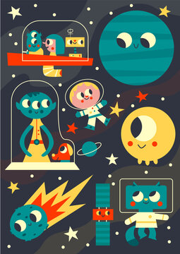 Retro Space Illustration with Aliens, Astronauts, Comet, Satellite, Planet, Stars for Kids