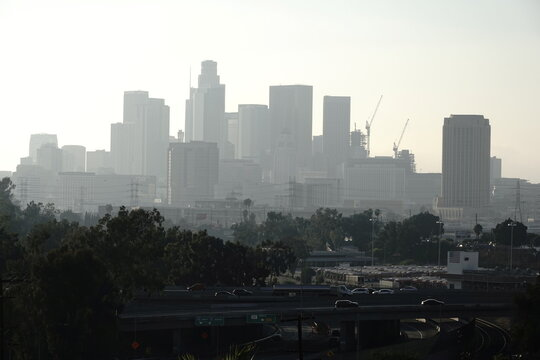 A general view of the Los Angeles skyline during a surge of coronavirus disease (COVID-19) cases in Los Angeles