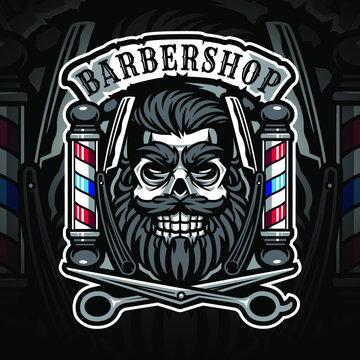 Skull babershop esport mascot logo