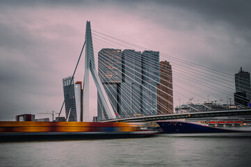 Skyline of Rotterdam at waterfront