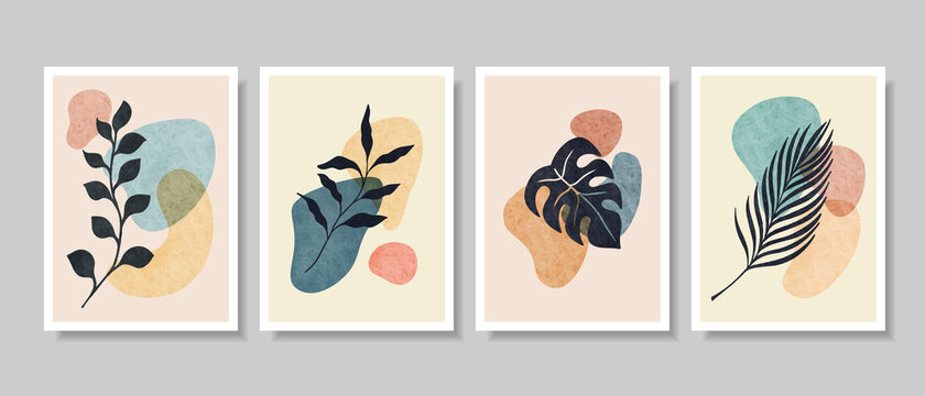 set of Abstract Botanical Wall Art, Abstract Leaves, boho branch botanical art for wall decoration, postcard or brochure design. Vector illustration.