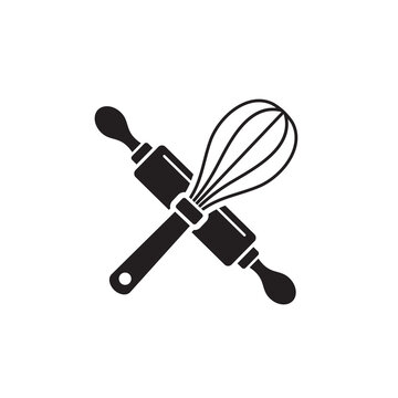 whisk and rolling pin icon symbol sign vector