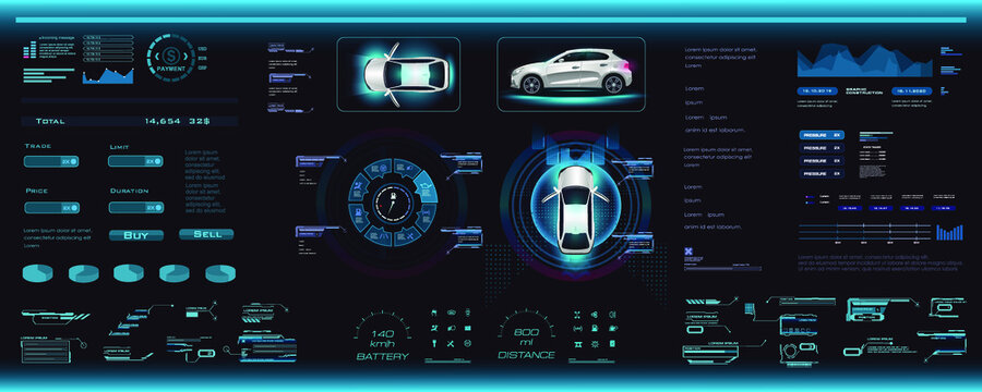 Car interface with parameters, options and settings in HUD, GUI, UI style. HUD style car interface. Digital smart dashboard with car and control settings. Smart car