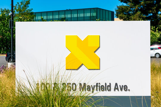 X Development sign and logo, formerly Google X, a research and development facility by Google and a subsidiary of Alphabet. - Mountain View, California, USA - 2020