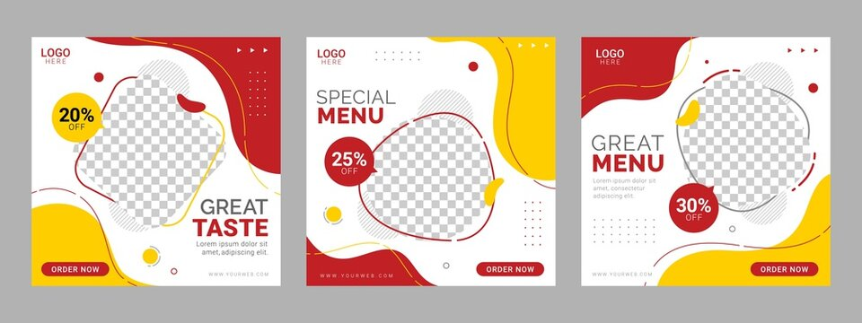 Social media food template, Restaurant social media square banner template for business promotion