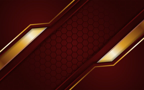 Abstract Dark Red Hexagon Background With Gold Line