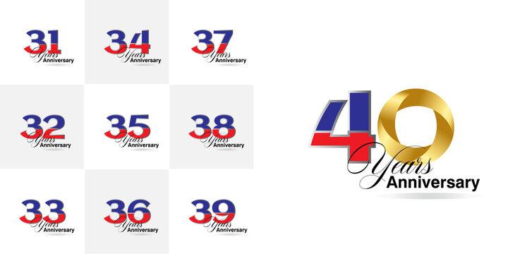 set 31, 32, 33, 34, 35, 36, 37, 38, 39, 40 Year Anniversary celebration Vector Template Design Illustration