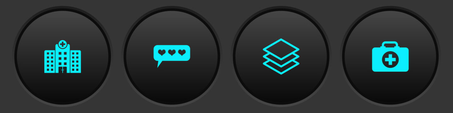Set Medical hospital building, Like and heart, Layers and First aid kit icon. Vector.