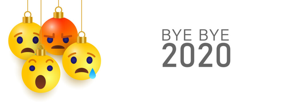 Bye-bye 2020 sad and angry emoji. We will miss you no. Vector illustration on white background.