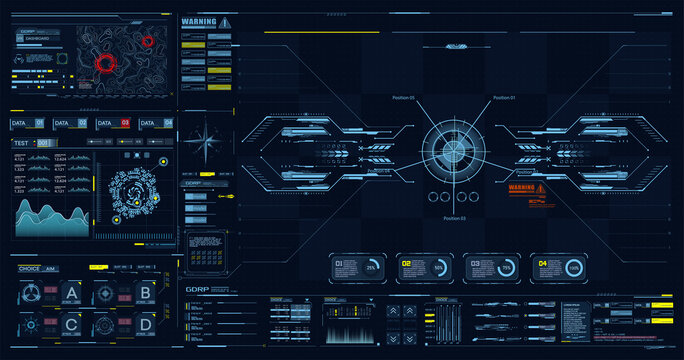 Advance HUD control center. Graphic Dashboard Head-up display and Futuristic User Interface GUI, UI. FUI. Virtual reality game screen interface template, mockup. Spyware app for tracking GPS. Vector