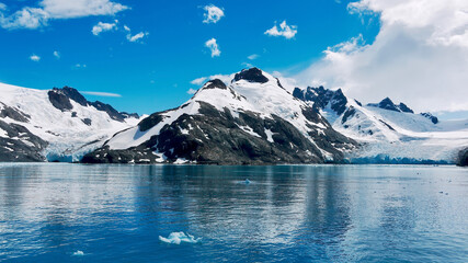 A dramatic landscape scene on South Georgia Island, with glaciers on both sides of a snowcapped mountain in the Drygalski Fjord.