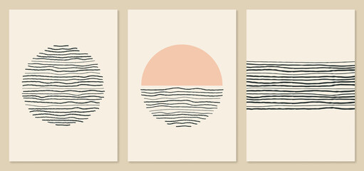 Abstract scandinavian minimalist art. Lines and circles design. Trendy mid century art, boho home decor, wall art.