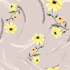 Watercolor seamless abstract background, pattern. Ears of wheat. watercolor pattern of plants. Herbs, grass. spikelet, branch. Spikelet of wheat, cereal plants.Clanedula flower, chamomile, sunflower.
