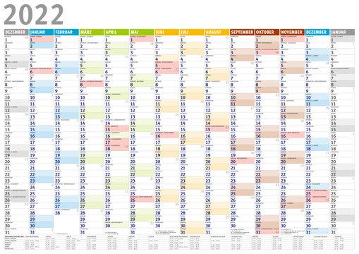 Kalender 2022 (Dezember 20201 bis Januar 2023) mit Ferien
