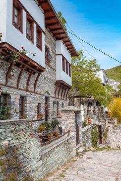 Street view at Makrinitsa village of Pelion, Greece