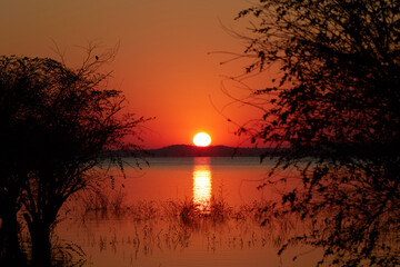 Sunset at the lake of Kafue National Park