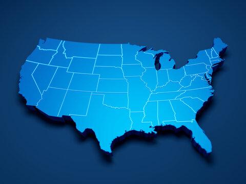USA map 3d cinematographic