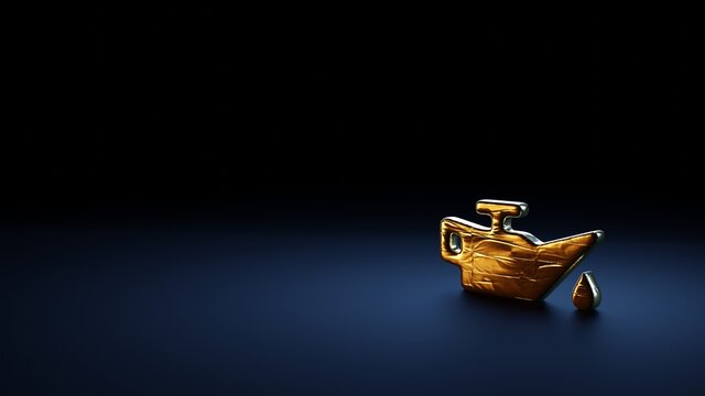 3d rendering symbol of oil can wrapped in gold foil on dark blue background