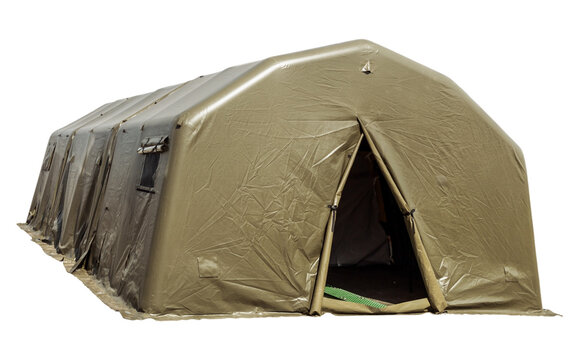 military protective tent, large tent for placing soldiers isolated on a white background