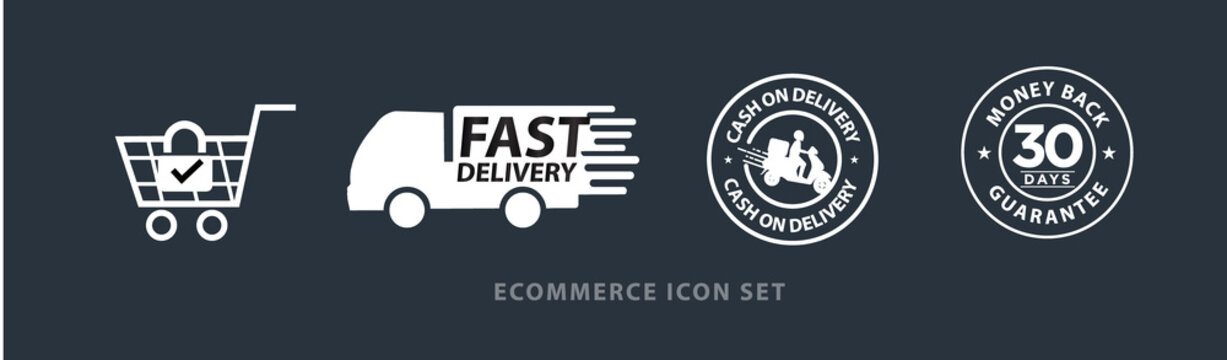 ecommerce vector icon set including, safe and secure shopping, fast delivery, cash on delivery, 30 days money back guarantee