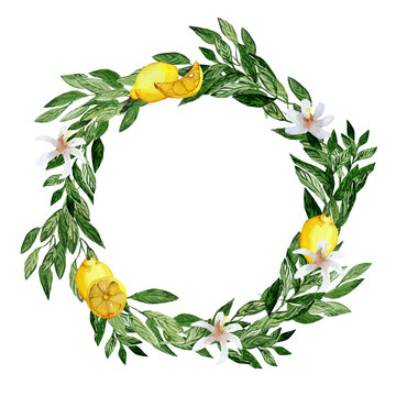 watercolor wreath with lemon, green leaves and white flowers